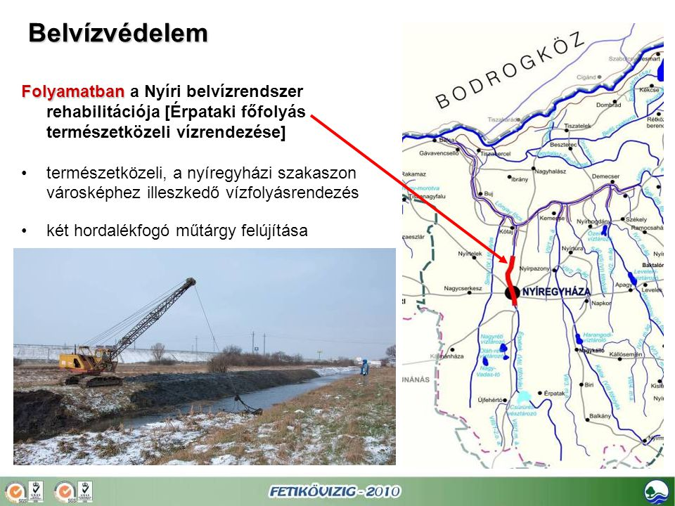 Belvízvédelem Folyamatban a Nyíri belvízrendszer rehabilitációja [Érpataki főfolyás természetközeli vízrendezése]